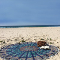 Cool Chiffon Round Deep Blues  Beach/Yoga Chiffon Towel