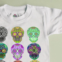 Multi Skull Cool Toddler Shirt. 2T 3T Skateboard Shirt. Trendy toddler clothes for girls or boys. Punk Skater Rockabilly tshirt kids