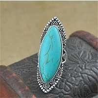 Vintage Bohemian Oval Turquoise Ring