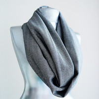 Handmade Herringbone Infinity Scarf - Wool Cotton - Black White Gray - Winter Autumn Scarf - Men Unisex Scarf