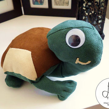 Handmade Plush Turtle (medium sized, suede plushie with googly eyes)