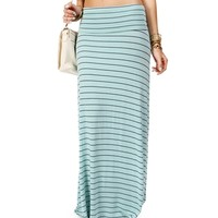 SALE-MintNavy Striped Maxi Skirt