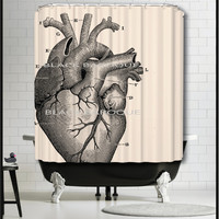 Human Heart Shower Curtain - Anatomical Heart Shower Curtain - Doctor nurse christmas gifts medical science decor curtains