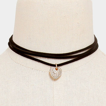 Crystal Heart Drop 3 Row Black Suede Leather Choker Necklace, Triple Row Rhinestone Heart Charm Choker Necklace