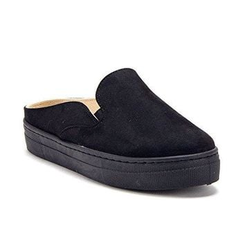 Women's OhOh Slip on Open Back Platform Slides Mule Sneakers Shoes