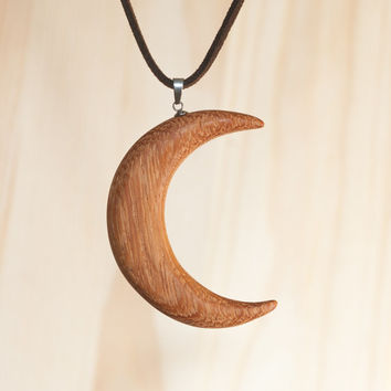 Crescent Moon Wooden Pendant. Angelim Pedra wood (Angelin). Moon, Half-Moon, Semicircle. Handmade. Unique Wood Jewelry. Wood carving.