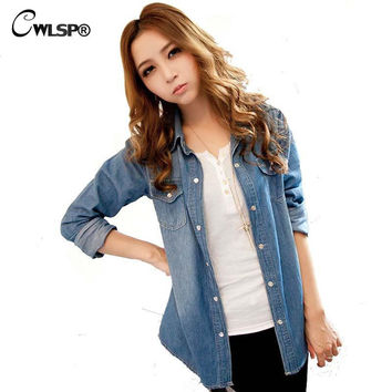 2016 Spring New Fashion Women Jean Shirts Blouse Women's Denim Shirts High-End Washing Long-Sleeved Denim Shirt LL064