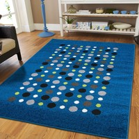 New Fashion Contemporary Rugs Blue Modern Rugs For Living Rooms 5 by 8 Rugs for Bedroom for Teens Kids Polka Dot Rugs 5 by 7 Rug Blue Office and Bedroom Rug Washable, 5x8 Rugs