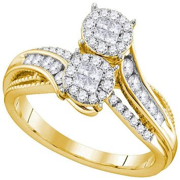 14kt Yellow Gold Women's Princess Round Diamond Soleil Bypass Bridal Wedding Engagement Ring 1/2 Cttw - FREE Shipping (US/CAN)