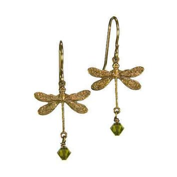 Dragonfly Earrings in Vintage Natural Brass with 4mm Olivine Crystal