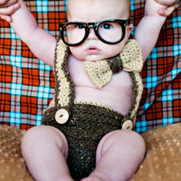 PDF Nerd Baby Suspenders and Bowtie Diaper Cover Crochet PATTERN