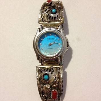 Navajo Turquoise Red Coral Watch Sterling Silver Tips Keith James Rumours Vintage Jewelry Southwestern Tribal Holiday Birthday Mother's Gift
