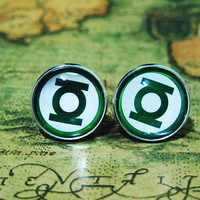 Men Cuff LInks , Green Lantern Movie Design Cufflinks , Unique Silver Cuff Link , with a Gift Box