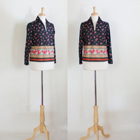 60s Top / 60s Polyester Shirt / Graphic Polyester Top / 70s Boho Blouse / 70s Shirt / Floral Shirt