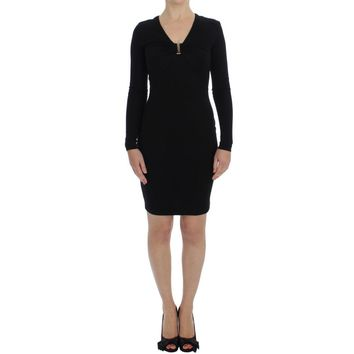 Versace Black Stretch Sleeves Sheath Dress