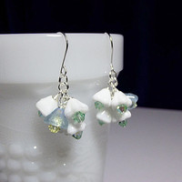 Lilac Green White Flower Crystal Cluster Earrings, Christmas Mom Sister Bridesmaid Girlfriend Jewelry Gift, Cocktail