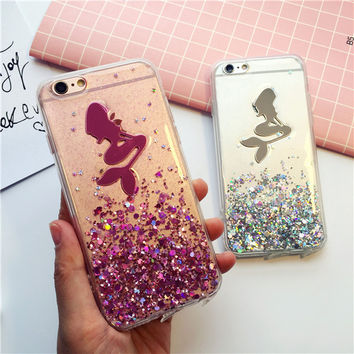 Quicksand Mermaid mobile phone case for iphone 6 6s 6plus 6s plus + Nice gift box!
