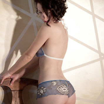 Blue Paisley Lace Boyshort soft satin bow underwear panty Handmade in NY by Impish Lee