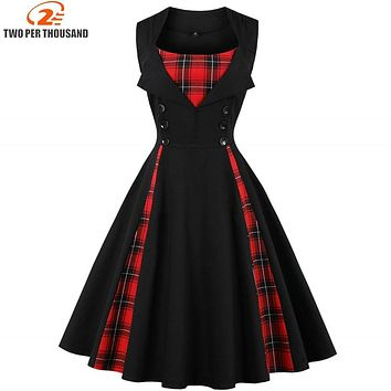 S-4XL Women Robe Pin Up Dress Retro 2018 Vintage 50s 60s Rockabilly Plaid Swing Summer female Dresses Elegant Tunic Vestidos