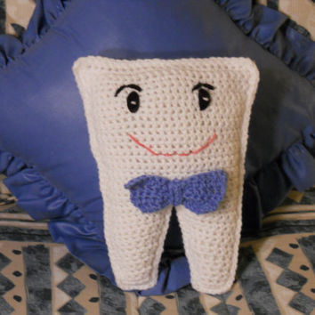 Crocheted Boy Tooth Fairy Pillow by thecrafter on Etsy