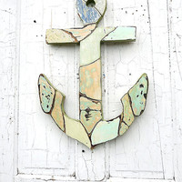 Wood Mosaic Anchor, Wooden Wall Anchor, Nautical Decor, Reclaimed Wood Anchor, Nautical Nursery Art, Coastal Decor, Maritime Wall Art
