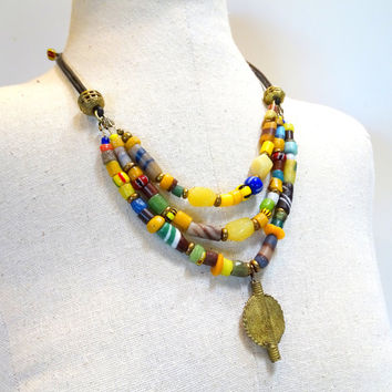 3 strand Africaan trade bead, opal and leather necklace, ethnic jewelry, tribal bead , African jewelry
