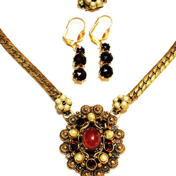 ON SALE Vintage Karu Fifth Avenue Pendant Necklace with Married Earrings, Victorian Revival, Garnet, Pearls, Brass, 1940s