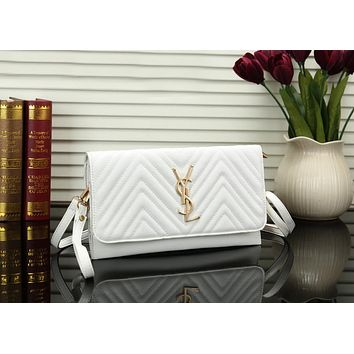 YSL Newest Fashionable Women Shopping Leather Shoulder Bag Crossbody Satchel White