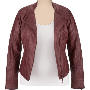 Plus Size - Asymmetrical Zip Faux Leather Jacket - Oxblood