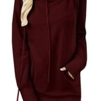 Mode Burgundy Funnel Neck Long Sleeve Pocket Hoodie
