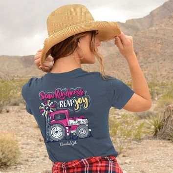 Cherished Girl Sow Kindness Reap Joy Tractor Girlie Christian Bright T Shirt