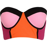 River Island Womens Pink color block bustier bikini top