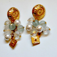 vintage gold and white and aqua glass beaded bridal earrings~antique retro beaded cluster earrings bridal jewelry wedding earrings