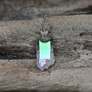 Angel Aura Necklace - Rainbow Crystal Jewelry - Crushed Pyrite & Angel Aura Quartz Necklace - Gypsy Boho Necklace - Opal Aura Quartz Jewelry