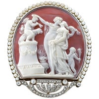 Exquisite Belle Epoque Pearl Diamond Cameo Brooch