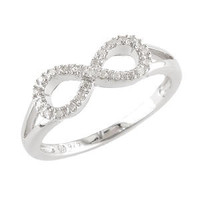 Genuine Diamond & Sterling Silver Infinity Ring