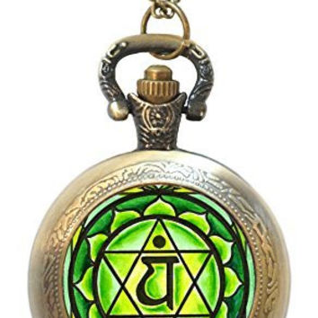 4th Chakra Green Anahata Heart Antique Bronze Gold Necklace Pocket Watch