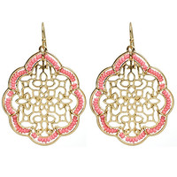 Gold Filigree Coral Beaded Dangle Earrings