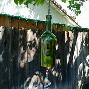 Whimsical Upcycled Wine Bottle Wind Chime/Repurposed Bottle Garden Art/Recycled Winery Beaded Wine Bottle/Sun Catcher Wine Art/Green Frog