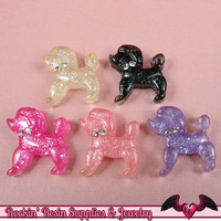 Glitter POODLE DoG KAWAII CABOCHONS / Decoden Flatback Resin Cabochons 19x20mm (5 pieces)