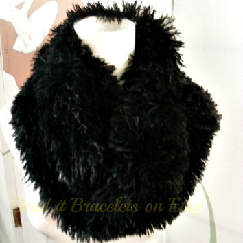Faux Fur Snood Infinity Scarf in Cream