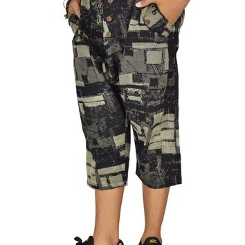 Bjelly Printed Calf Length Street Casual Cotton Pant