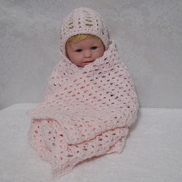 Lightweight Pink Crocheted Preemie Baby Hat and Rectangle Baby Afghan Set