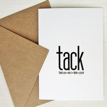 Tack thank you card many languages thank you in swedish minimalist greeting card
