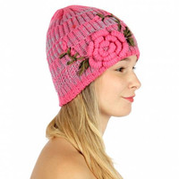 CHRISTMAS GIFT Fall Winter Hat Thick knit hat flower corsage Women's Accessories
