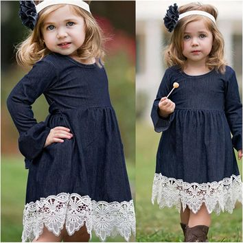 Toddler Infant Baby Girls Denim Dress Flare Sleeve Lace Splice S 6cc03d2b8