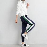 Fashion  Pants White Striped Side Loose Trousers Long Sweat Pants
