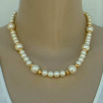 Marvella Faux Pearl Necklace Goldtone Beads Designer Vintage Jewelry
