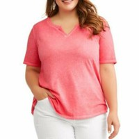 Terra & Sky Plus 3X  Pink  Split V-Neck Shirt Tee