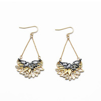 Black and Gold Foliage Dangle Earrings